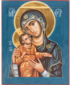 Mother of God with Child, Glikophilousa, 20x25 cm (blue)
